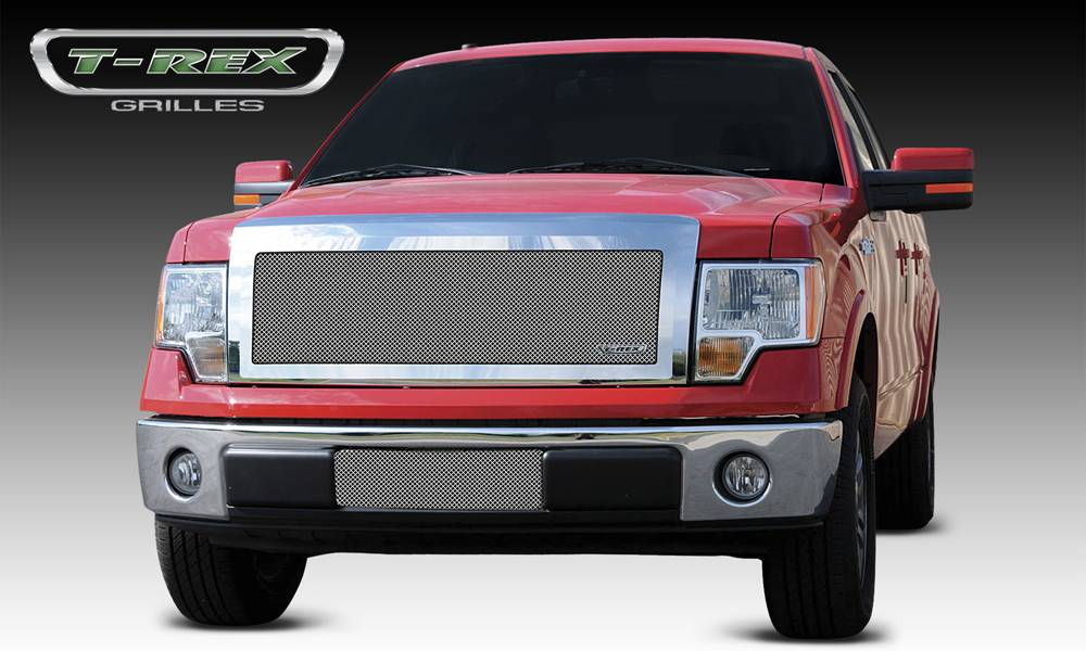Ford F-150 Upper Class Polished Stainless Mesh Grille - 1 Pc Full Opening - With Formed Mesh Center - Pt # 54568