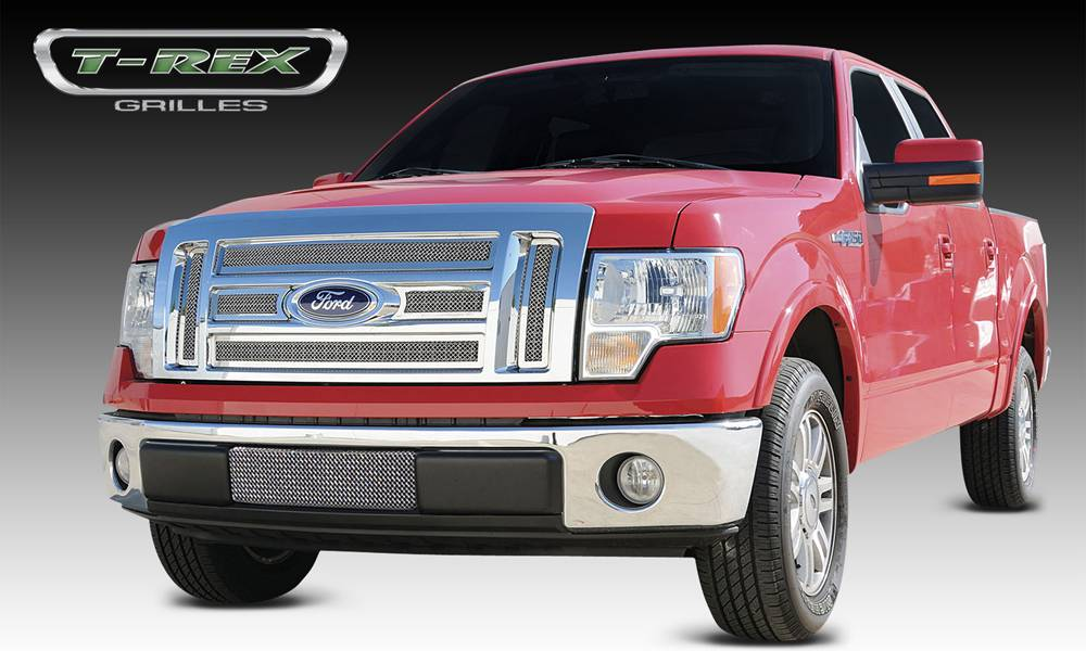 Ford F-150 Lariat / K. Ranch Upper Class Polished Stainless Mesh Grille - 6 Pc - With Formed Mesh - Pt # 54569