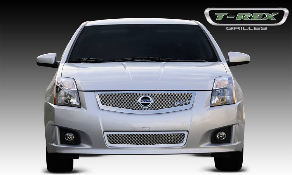 T-REX Grilles - Nissan Sentra 2.0 SR, SE-R Upper Class Mesh Grille w/ logo plate, fits vehicles w/ Sport Grille and Sport fascia - Pt # 54765