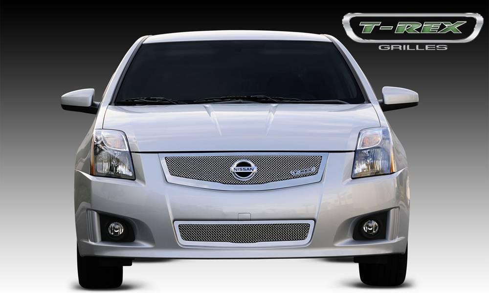 T-REX Grilles - Nissan Sentra 2.0 SR, SE-R Upper Class Mesh Grille w/ logo plate, fits vehicles w/ Sport Grille and Sport fascia - Pt # 54765