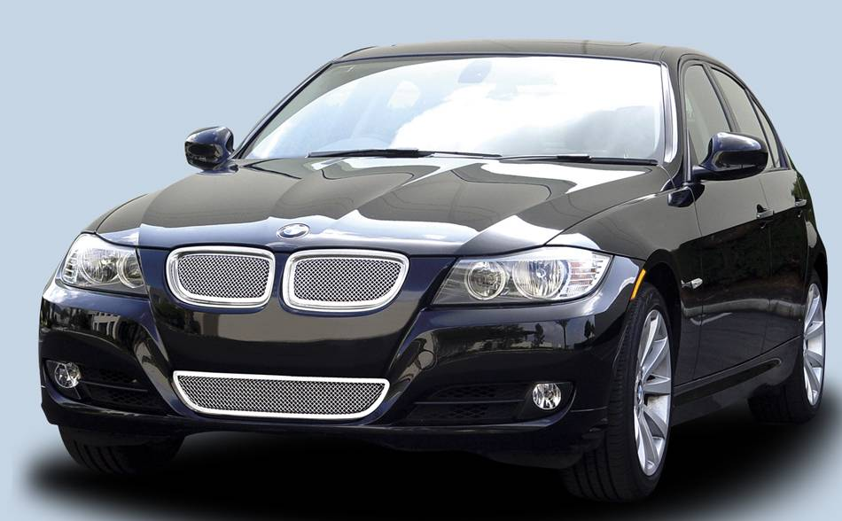 T-REX Grilles - BMW 3 Series Upper Class Polished Stainless Mesh Grille - With Formed Mesh Center  - 2 Pc - Pt # 54992