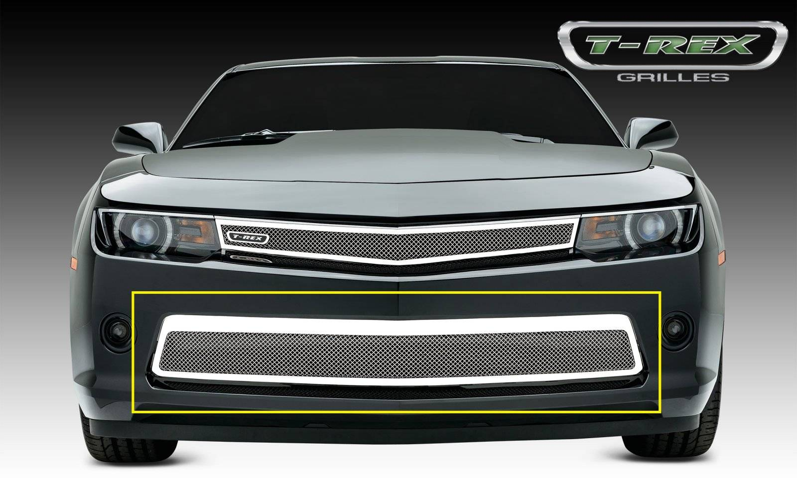 T-REX Grilles - 2014-2015 Camaro Upper Class Bumper Grille, Polished, 1 Pc, Replacement, V6 - PN #55032