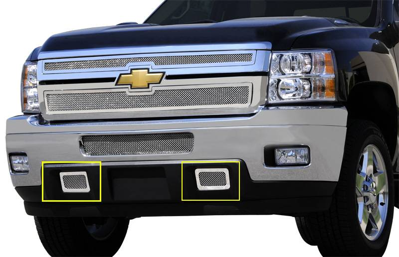 T-REX Chevrolet Silverado HD Upper Class Polished Stainless Mesh Tow Hook Bumper Grille - 2 Pc UPS OS3 - Pt # 55115