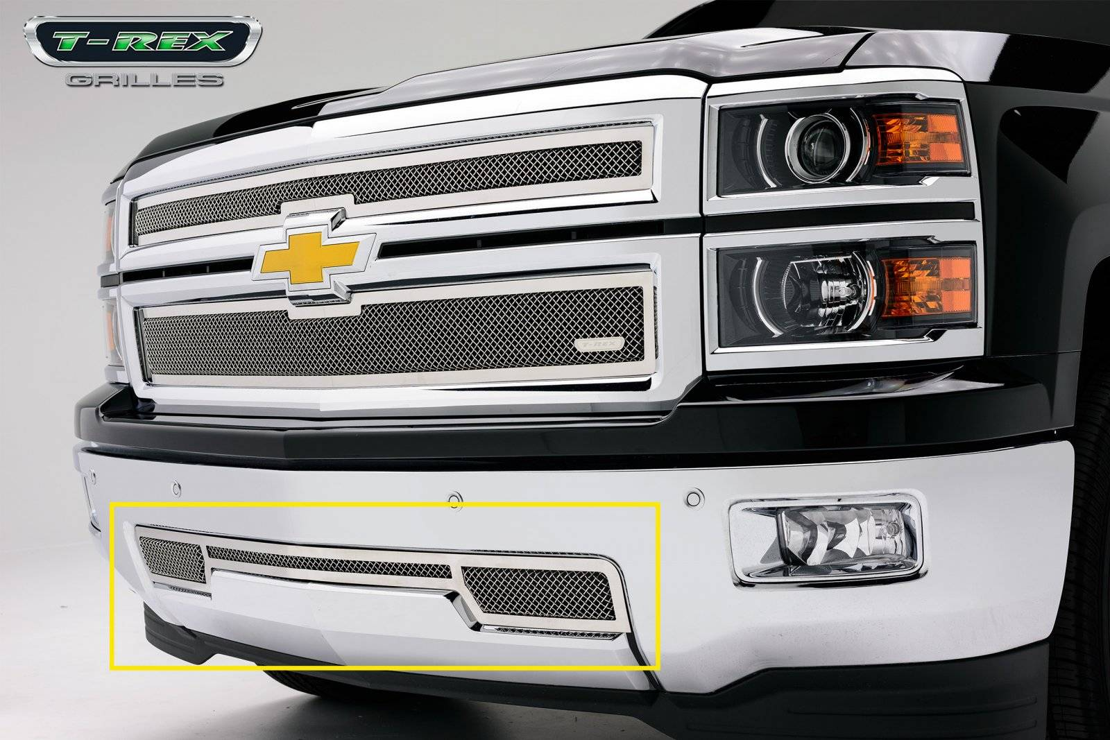 T-REX Grilles - 2014-2015 Silverado 1500 Upper Class Bumper Grille, Polished, 1 Pc, Overlay - PN #55117