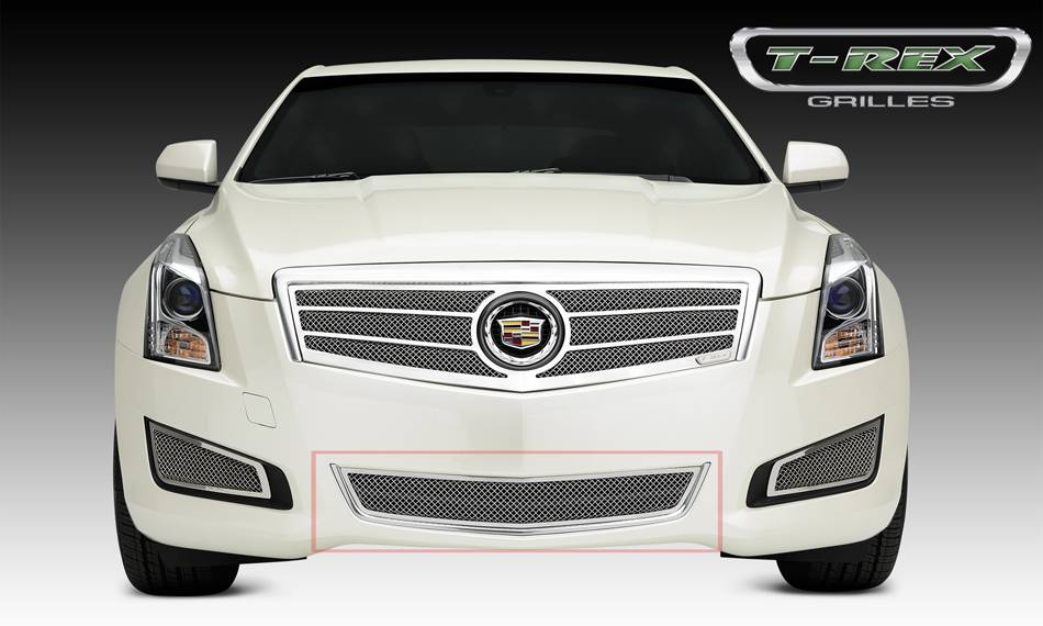T-REX Grilles - 2013-2014 Cadillac ATS Upper Class Series Bumper Grille, Polished, 1 Pc, Overlay - PN #55177