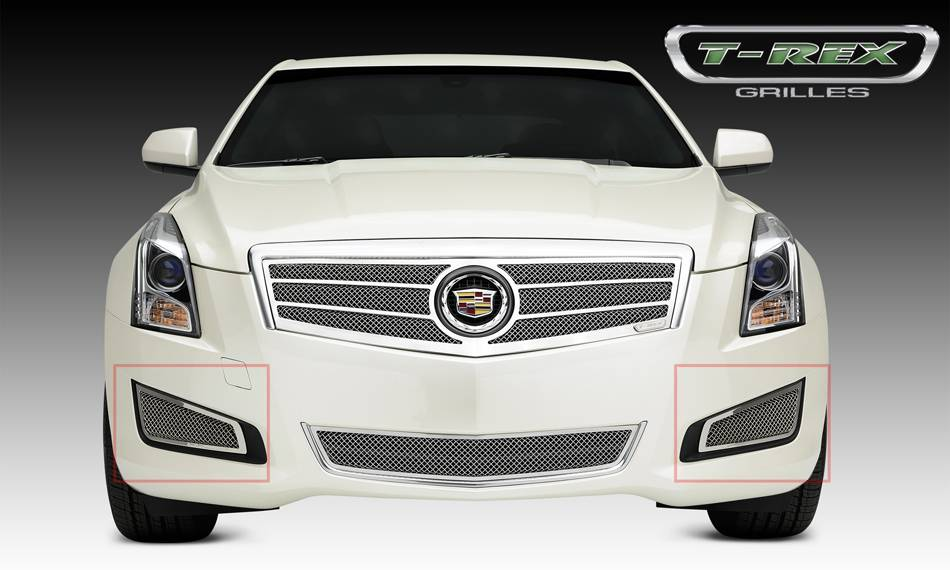 T-REX Cadillac ATS Upper Class Formed Mesh Grille, Side Bumpers, Overlay, 2 Pc, Polished Stainless Steel Will not fit Platinum Edition. - Pt # 55178