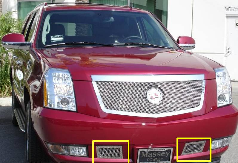 Cadillac Escalade, EXT, ESV Upper Class Polished Stainless Bumper Mesh Grille - 2 Pc kit covers tow hook openings - Pt # 55195