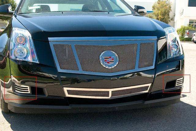 T-REX Cadillac CTS w/o fogs lights Upper Class Polished Stainless Bumper Mesh Grille - 2 Pc Bumper Caps Without Factory Fog Lights - Pt # 55198