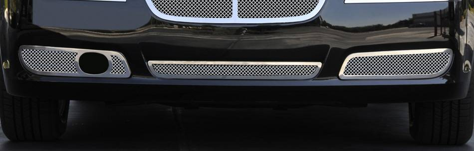 T-REX Grilles - 2011-2014 Chrysler 300 Upper Class Bumper Grille, Polished, 2 Pc, Overlay, Only fits models with adaptive cruise control - PN #55435