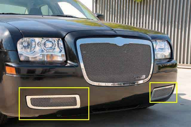T-REX Grilles - 2005-2010 Chrysler 300 Upper Class Bumper Grille, Polished, 2 Pc, Overlay - PN #55472