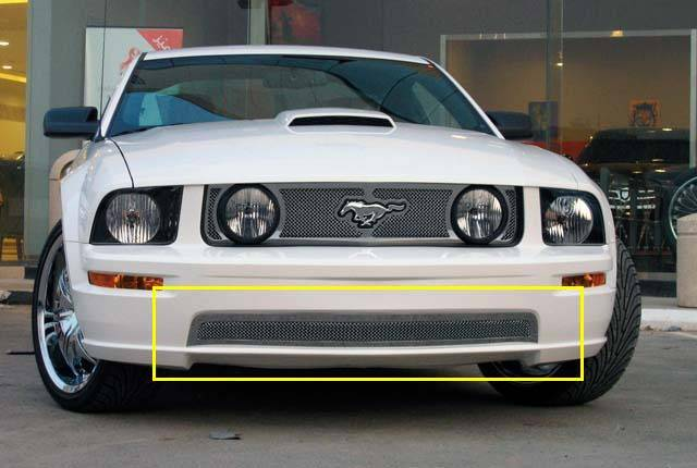 T-REX Ford Mustang GT Models Upper Class Polished Stainless Bumper Mesh Grille - With Formed Mesh Center - Pt # 55516