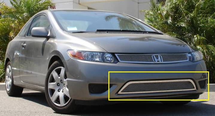 T-REX Grilles - 2006-2008 Honda Civic Coupe Upper Class Series Mesh Bumper Grille, Polished, 1 Pc, Overlay - PN #55736