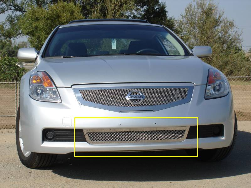 T-REX Grilles - 2008-2009 Altima Coupe Upper Class Bumper Grille, Polished, 1 Pc, Overlay - PN #55769