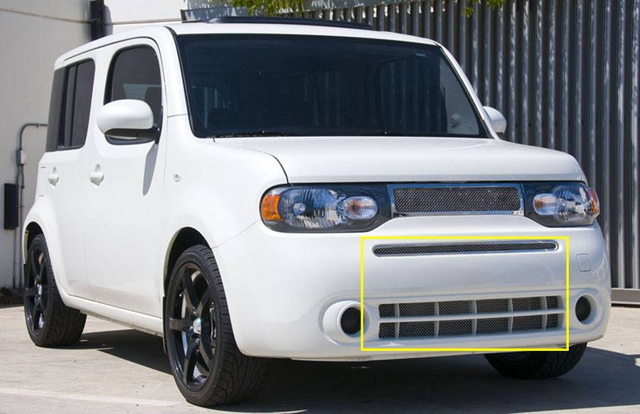 T-REX Nissan Cube Upper Class Polished Stainless Bumper Mesh Grille - Includes top bumper grille w/frame and lower airt dam mesh Mesh only / No frame - Pt # 55772