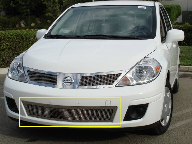 T-REX Grilles - Nissan Versa Upper Class Polished Stainless Bumper Mesh Grille - Pt # 55773
