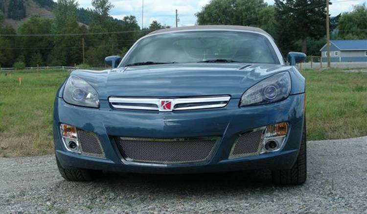 T-REX Saturn Sky RED Line Upper Class Polished Stainless Bumper Mesh Grille - 2 Pc Kit Center Bumper & SS plate behind factory grille - Pt # 55806