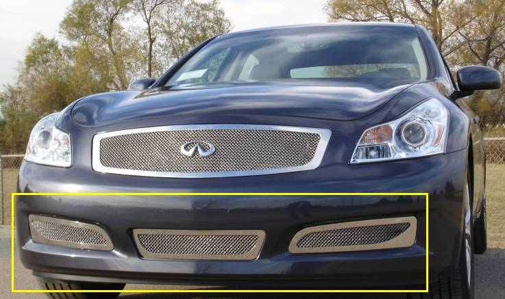 T-REX Grilles - 2007-2008 Infiniti G-35 Sedan Upper Class Bumper Grille, Polished, 3 Pc, Overlay - PN #55809