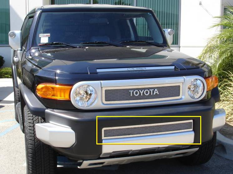 T-REX Grilles - 2007-2014 Toyota FJ Cruiser Upper Class Series Bumper Grille, Polished, 1 Pc, Overlay - PN #55932
