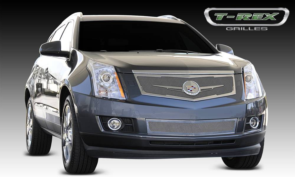 T-REX Cadillac SRX Upper Class Mesh Grille - Replacement - Full Opening - w/ Winged OE Logo Plate - Chrome - Pt # 56186