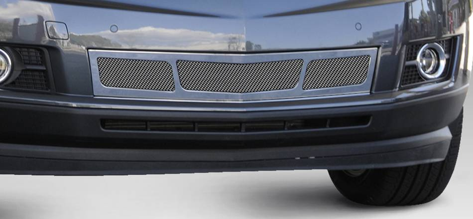 T-REX Grilles - 2010-2016 Cadillac SRX Upper Class Bumper Grille, Chrome, 1 Pc, Overlay, 3 Window Design - PN #57187