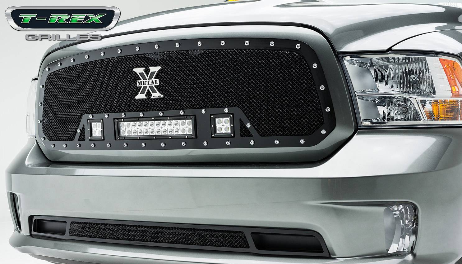 "T-REX Grilles - 2013-2018 Ram 1500 Torch Grille, Black, 1 Pc, Insert, Chrome Studs, Incl. (2) 3"" LED Cubes and (1) 12"" LEDs - PN #6314581"