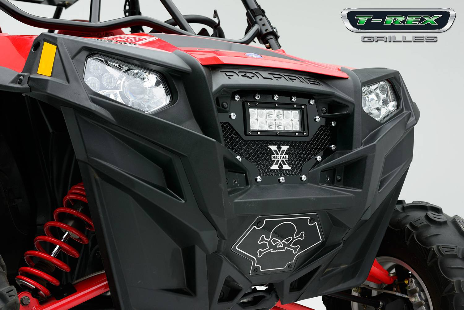 "T-REX Grilles - 2011-2013 Polaris RZR XP 900 Torch Grille, Black, 1 Pc, Replacement, Chrome Studs, Incl. (1) 6"" LED - PN #6319001"