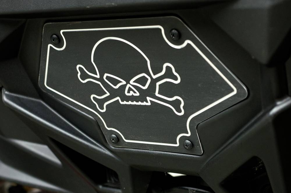T-REX Polaris RZR XP 900 X-METAL Winch Cover Plate w/ Skull Design - Aluminum Black Finish - Pt # 6700601