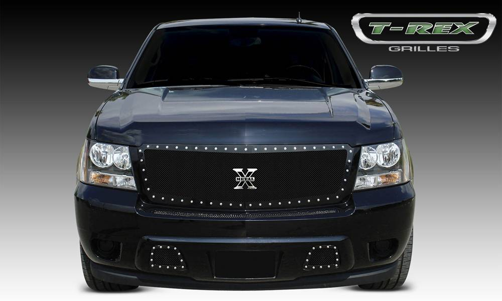 T-REX Chevrolet Avalanche X-METAL Series - Studded Main Grille - ALL Black - Custom 1 Pc Style Requires cutting factory bumper - Pt # 6710521