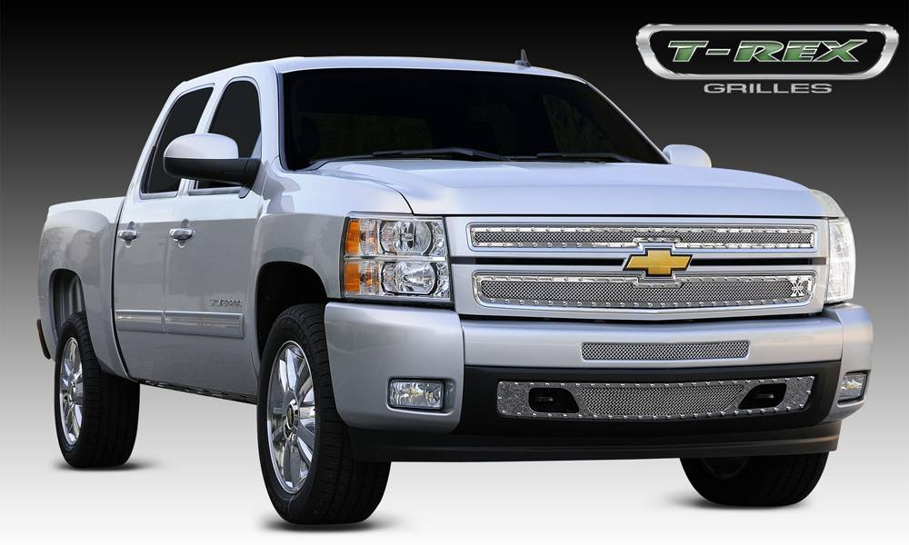 T-REX Grilles - Chevrolet Silverado 1500 X-METAL Series - Studded Main Grille - Polished SS - 2 Pc Style - Pt # 6711100