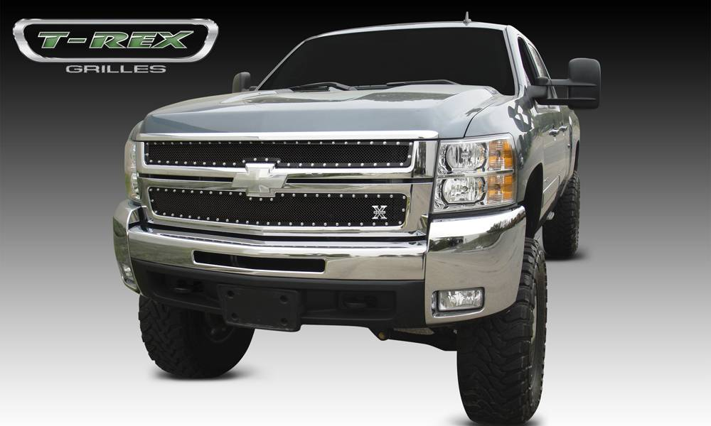 T-REX Grilles - Chevrolet Silverado HD X-METAL Series - Studded Main Grille - ALL Black    - 2 Pc Style - Pt # 6711121
