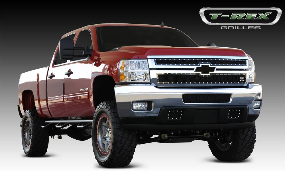 T-REX Grilles - Chevrolet Silverado HD X-METAL Series - Studded Main Grille - ALL Black - 2 Pc Style - Pt # 6711141