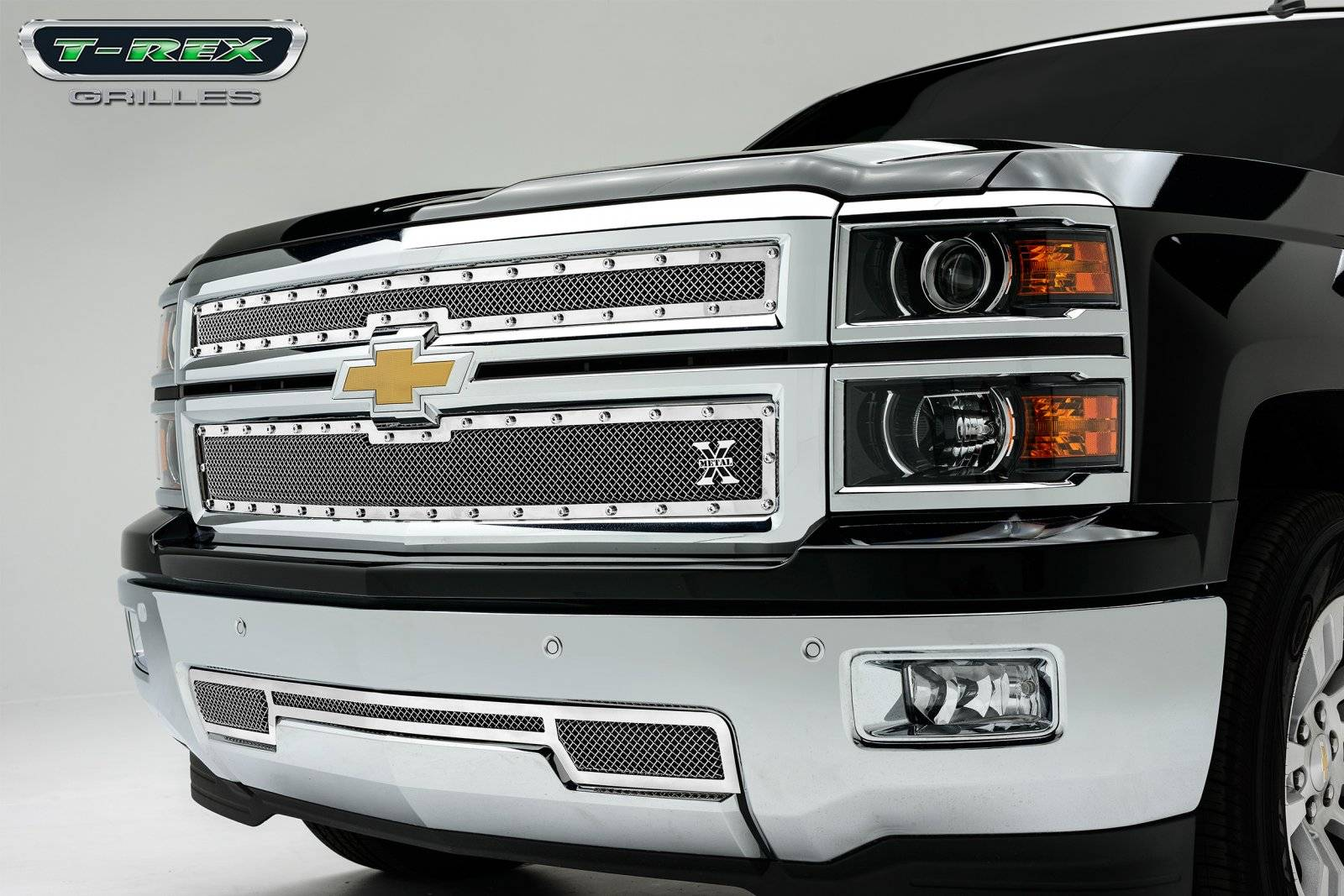 T-REX Grilles - Chevrolet Silverado X-METAL Series - Studded Main Grille - Polished SS - 2 Pc Style - Pt # 6711170
