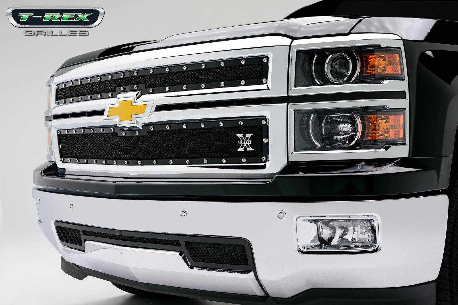 T-REX Chevrolet Silverado X-METAL Series - Studded Main Grille - ALL Black - 2 Pc Style - Pt # 6711171