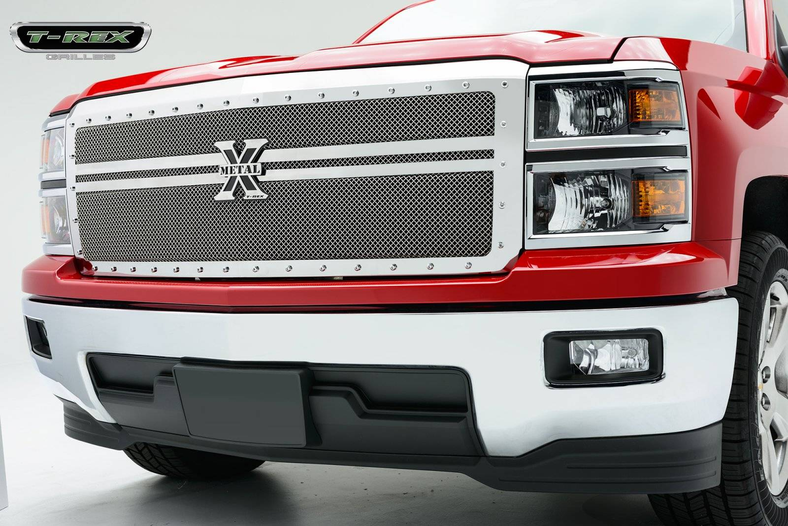 T-REX Grilles - Chevrolet Silverado X-METAL Series - Polished -  Main with 2 Bars Across, Replacement, 1 Pc - Pt # 6711180