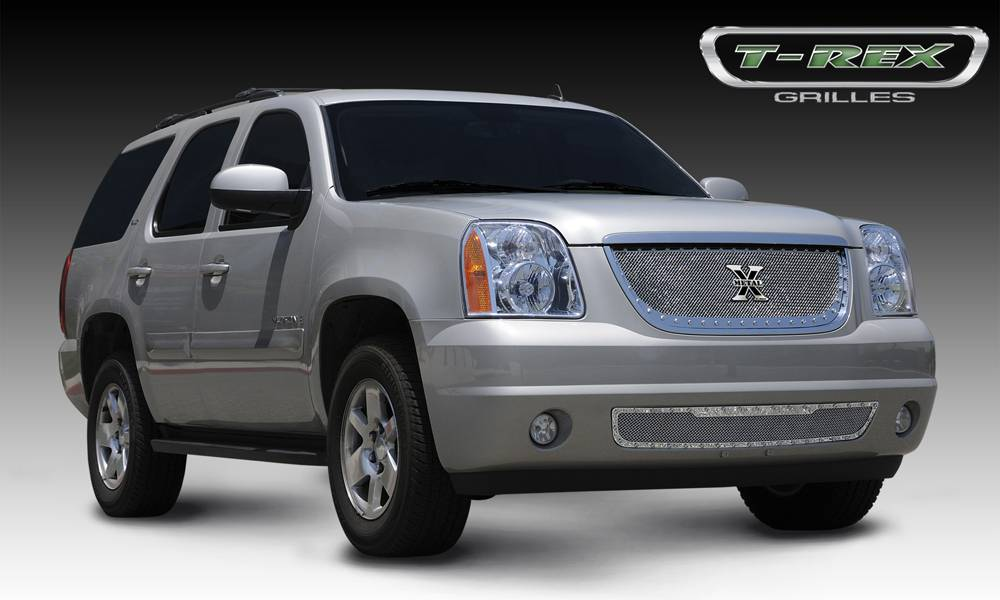 T-REX Grilles - 2007-2014 Yukon, Yukon XL X-Metal Grille, Polished, 1 Pc, Insert, Chrome Studs - PN #6711710