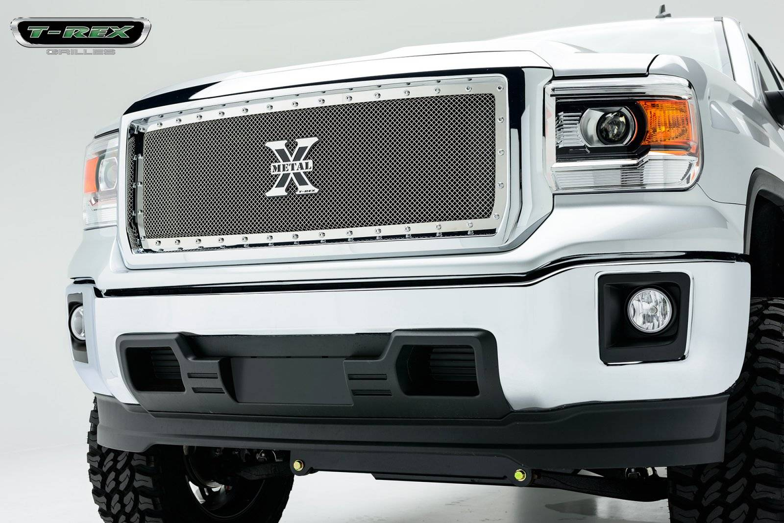 T-REX Grilles - 2014-2015 Sierra 1500 X-Metal Grille, Polished, 1 Pc, Insert, Chrome Studs - PN #6712080