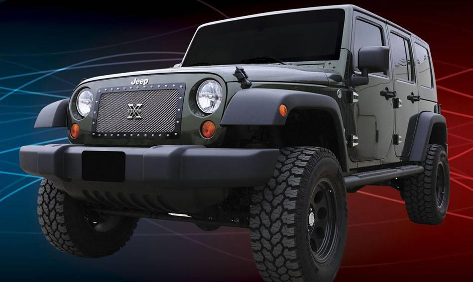 T-REX Grilles - 2007-2018 Jeep JK, JKU X-Metal Grille, Polished, 1 Pc, Insert, Chrome Studs - PN #6714830
