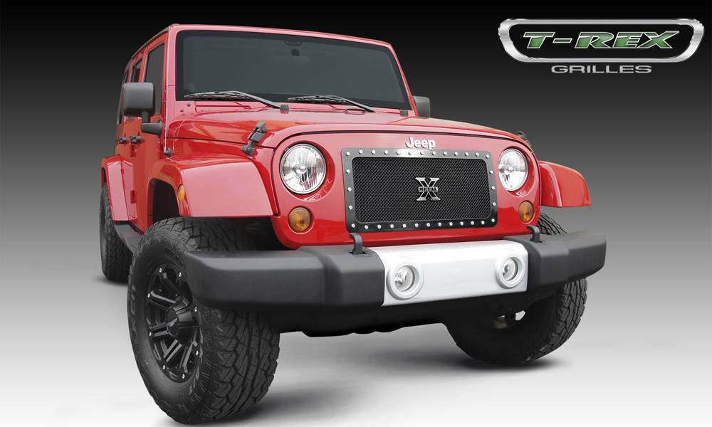 T-REX Jeep Wrangler X-METAL Series - Studded Main Grille - ALL Black - 1 Pc Custom Cut Center Bars - Pt # 6714831