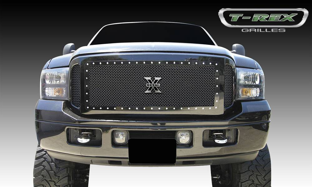 T-REX Ford Super Duty X-METAL Series - Studded Main Grille - ALL Black - 3 Pc Center Insert has Frame and Studs - Side Grilles are Mesh Only - Pt # 6715611