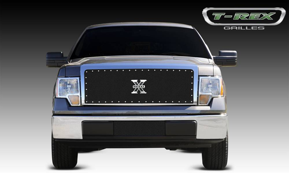 T-REX Ford F-150 X-METAL Series - Studded Main Grille - Custom 1 Pc Opening Requires Cutting center Bars - ALL Black - Pt # 6715681
