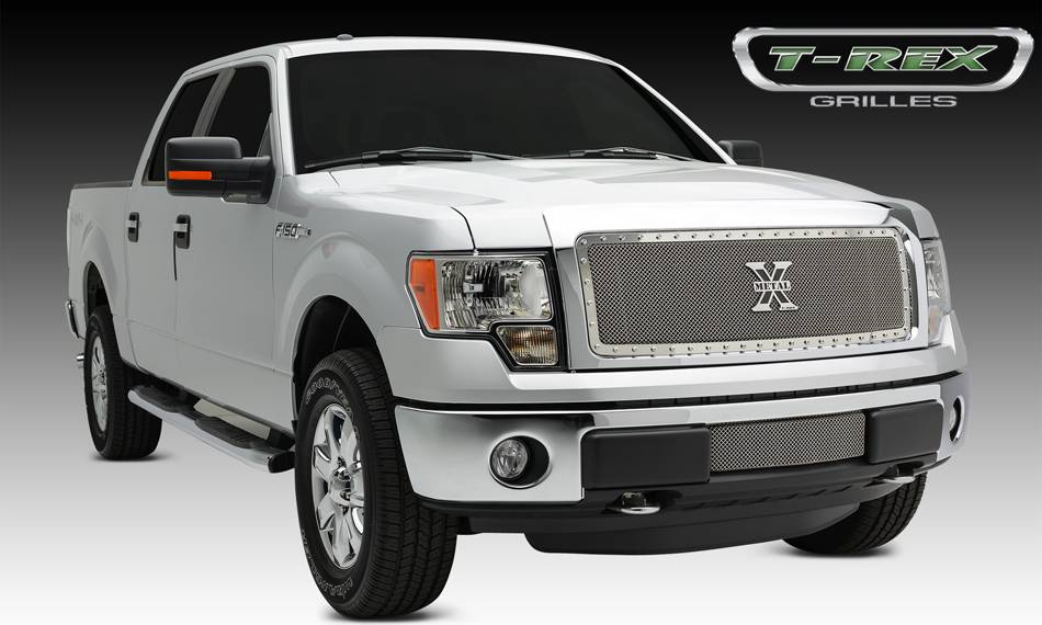 T-REX Ford F-150 X-METAL Series - Formed Mesh Grille, Main, Insert, 1 Pc, Polished Stainless Steel, Requires Center Bars Cutting  on OEM shell - Pt # 6715720