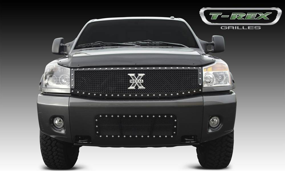 Nissan Titan X-METAL Series - Studded Main Grille - ALL Black   - Custom 1 Pc Replaces OE Grille - Pt # 6717791