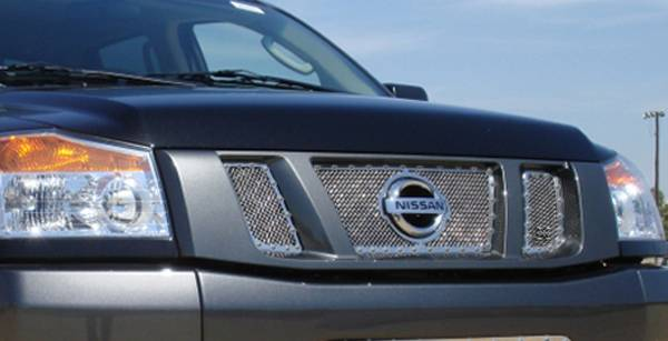 T-REX Nissan Titan X-METAL Series - Studded Main Grille - Polished SS - 3 Pc - with Logo Opening - Pt # 6717810