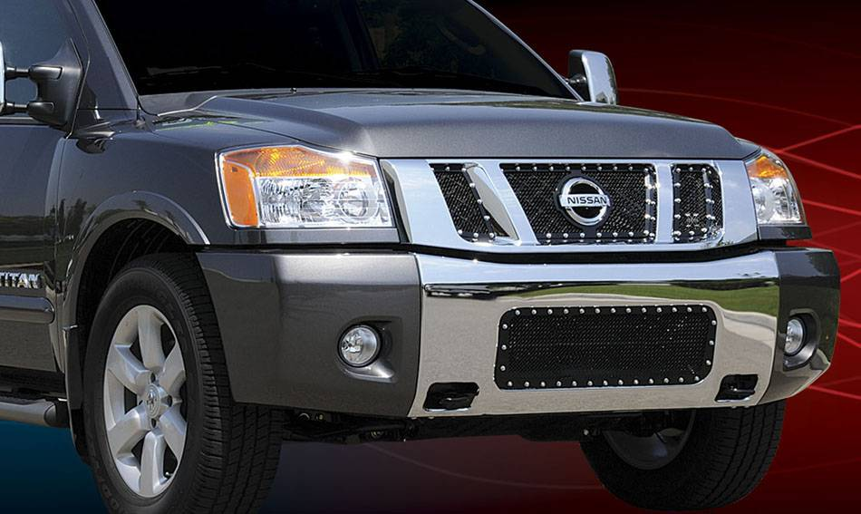 T-REX Grilles - Nissan Titan X-METAL Series - Studded Main Grille - ALL Black - 3 Pc - with Logo Opening - Pt # 6717811