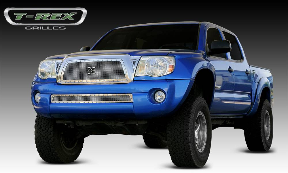 T-REX Toyota Tacoma X-METAL Series - Studded Main Grille - Polished SS Includes 2 Small Triangle Grille Inserts - Pt # 6718950