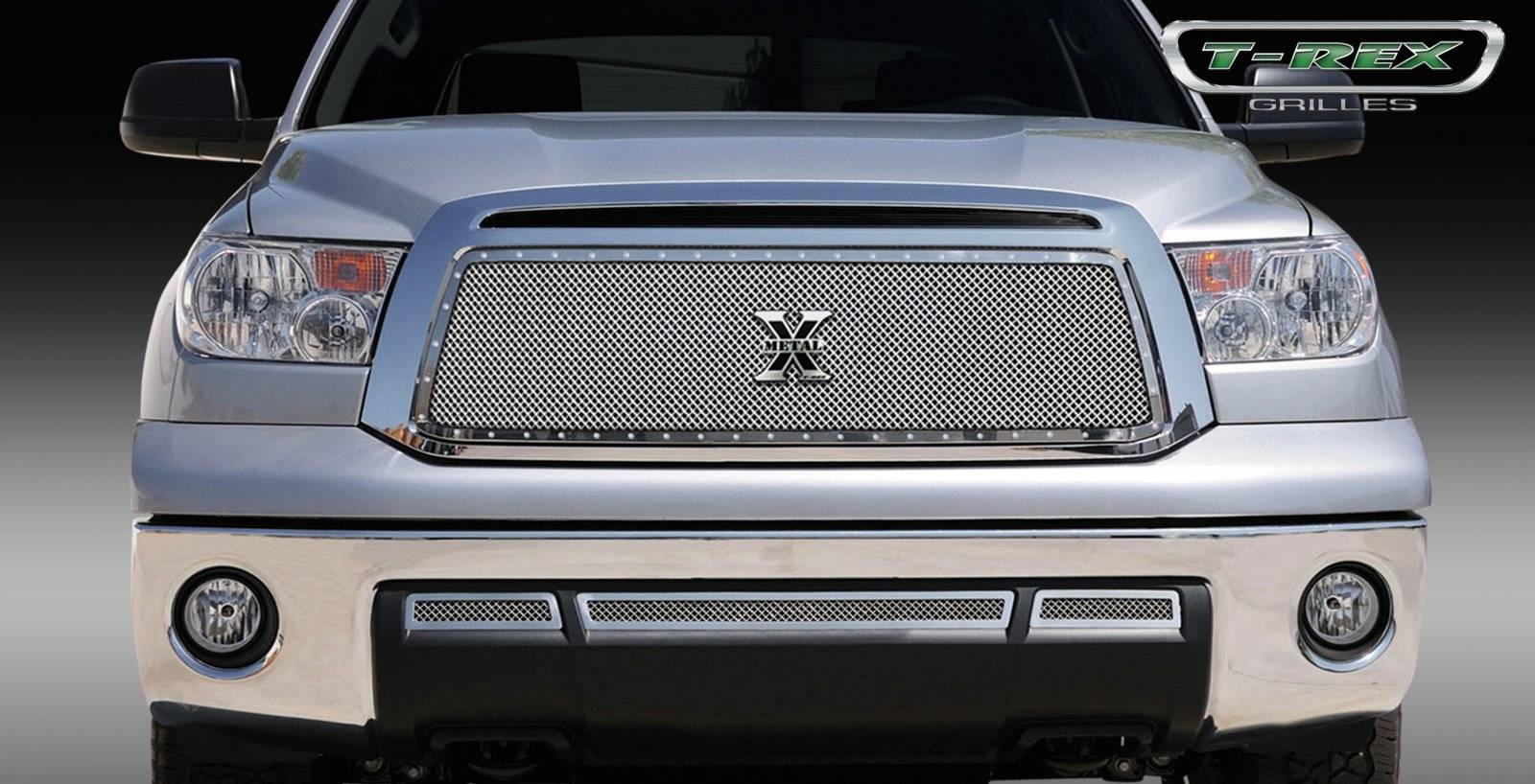 T-REX Grilles - 2010-2013 Tundra X-Metal Grille, Polished, 1 Pc, Insert, Chrome Studs - PN #6719630