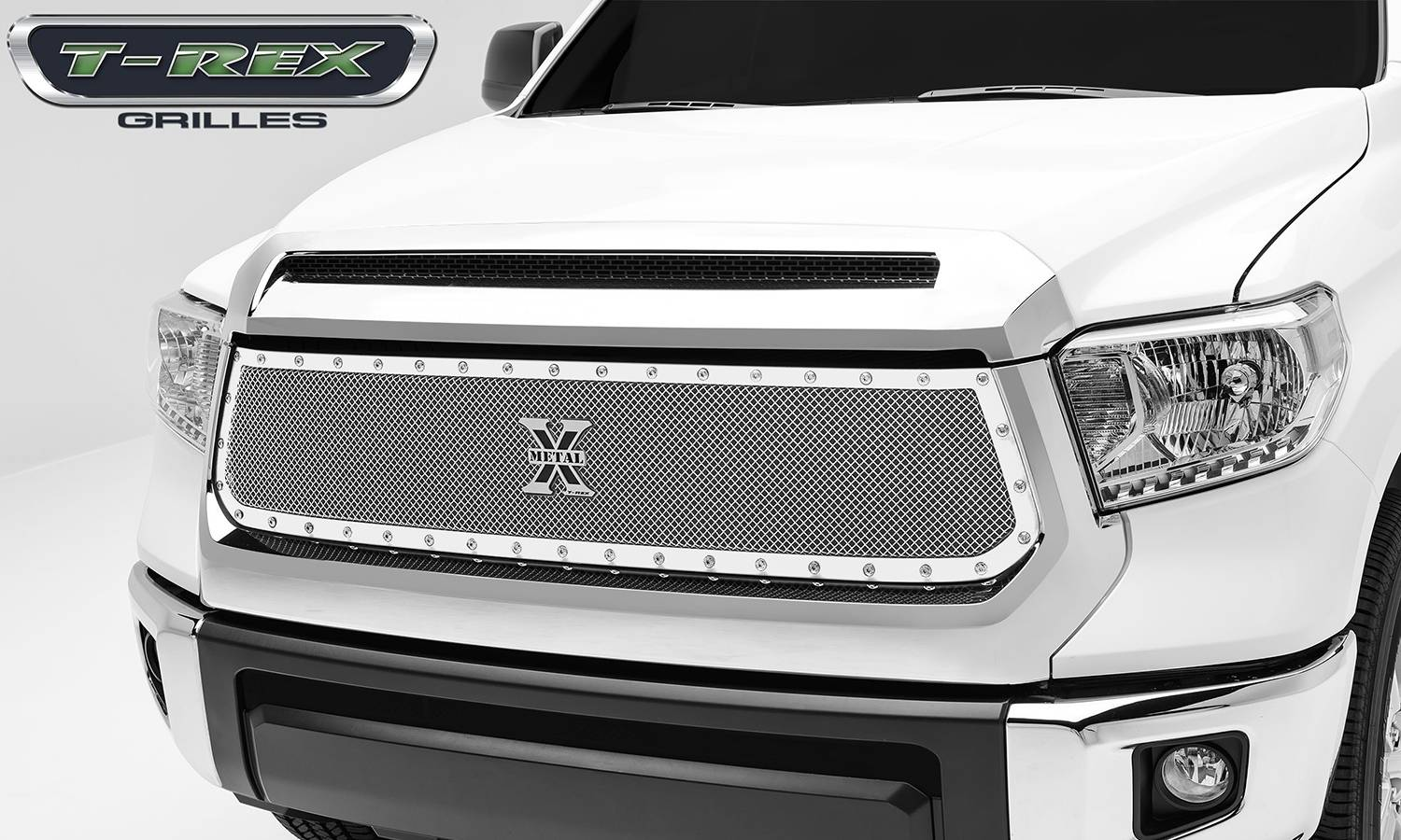T-REX Grilles - 2014-2017 Tundra X-Metal Grille, Polished, 1 Pc, Replacement, Chrome Studs - PN #6719640
