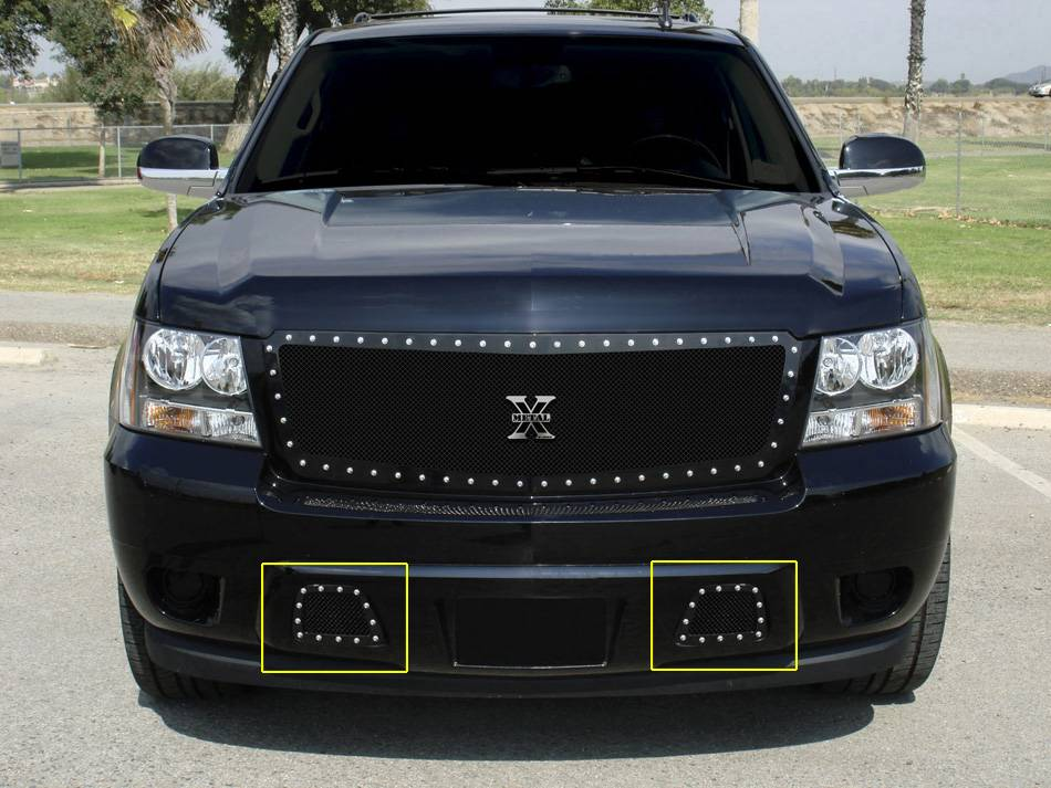 T-REX Grilles - 2007-2013 Avalanche, 07-14 Sub/Tahoe X-Metal Bumper Grille, Black, 2 Pc, Overlay, Chrome Studs - PN #6720511
