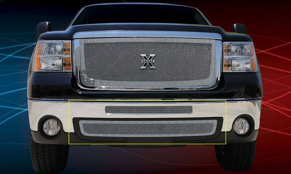 T-REX Grilles - GMC Sierra HD X-METAL Series - Studded Bumper Grille - Polished SS - 2 PC Includes Top bumper mesh and air dam grille - Pt # 6722060