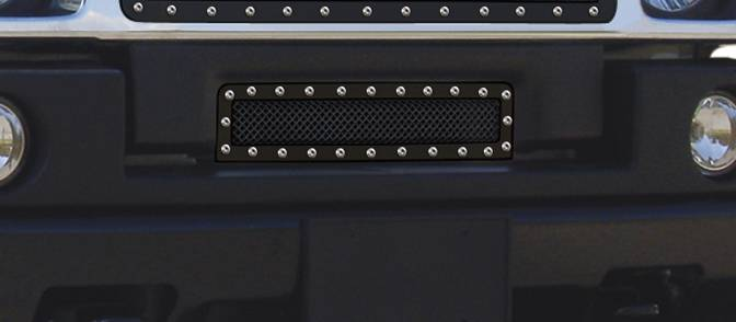 T-REX Hummer H2 X-METAL Series - Studded Bumper Grille - ALL Black - Pt # 6722901
